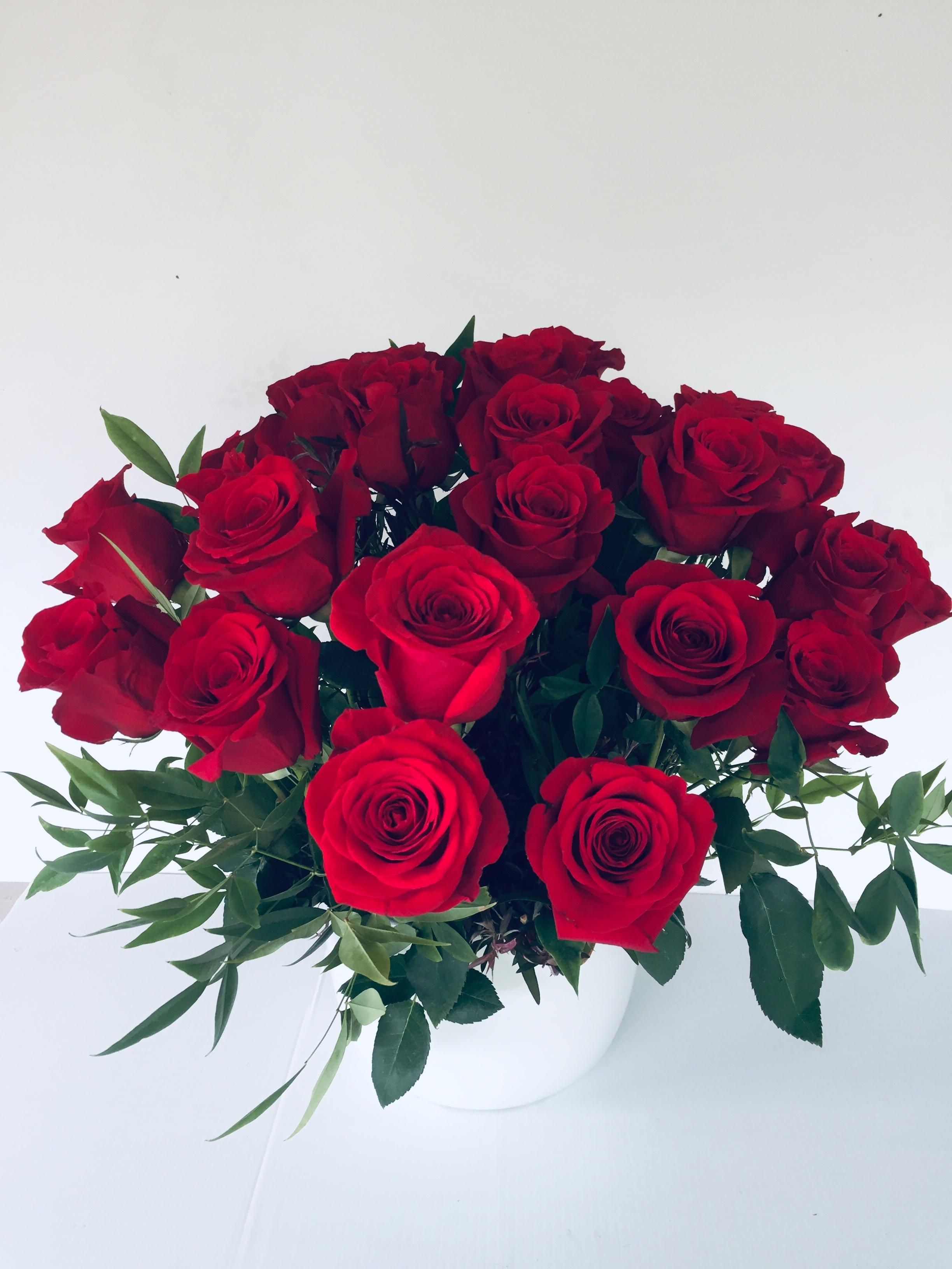 24 Red Rose Ceramic Pot