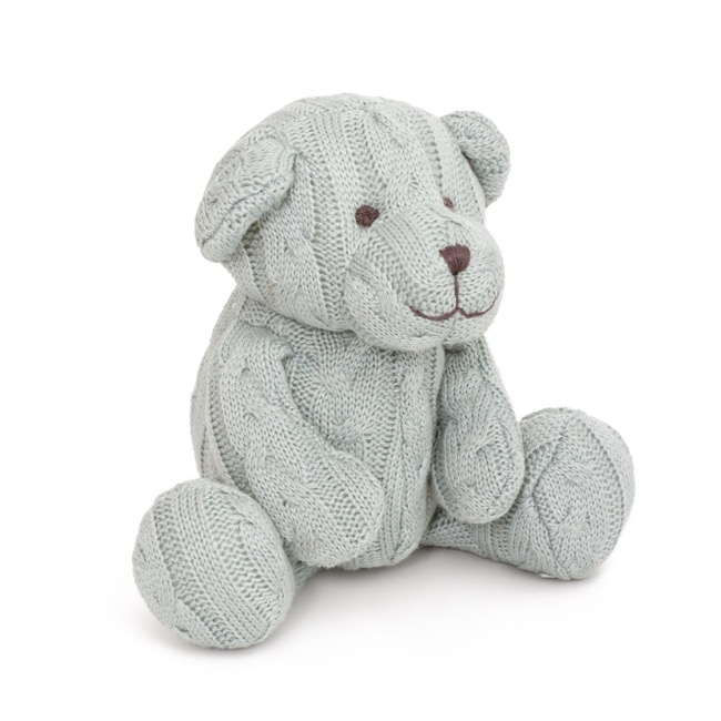 Cable Knit Teddy Bear Baby Blue