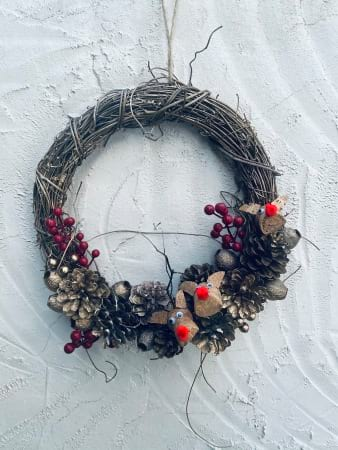Half Pinecone & Reindeer Wreath